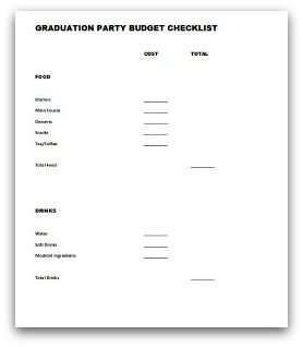 party planning budget checklist