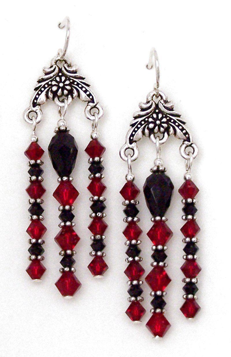 Red black swarovski crystal chandelier earrings red black swarovski crystal chandelier earrings seaglassearringsideas arubaitofo Choice Image