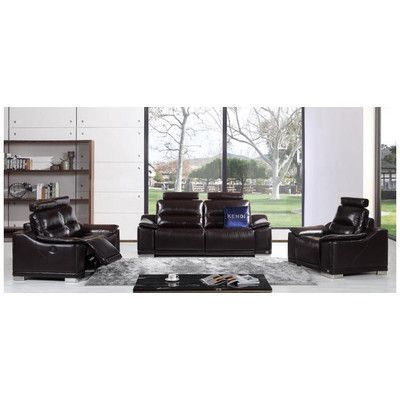 VIG Furniture Divani Casa Abelia Modern Recliner Leather Living Room Collection Upholstery: Brown