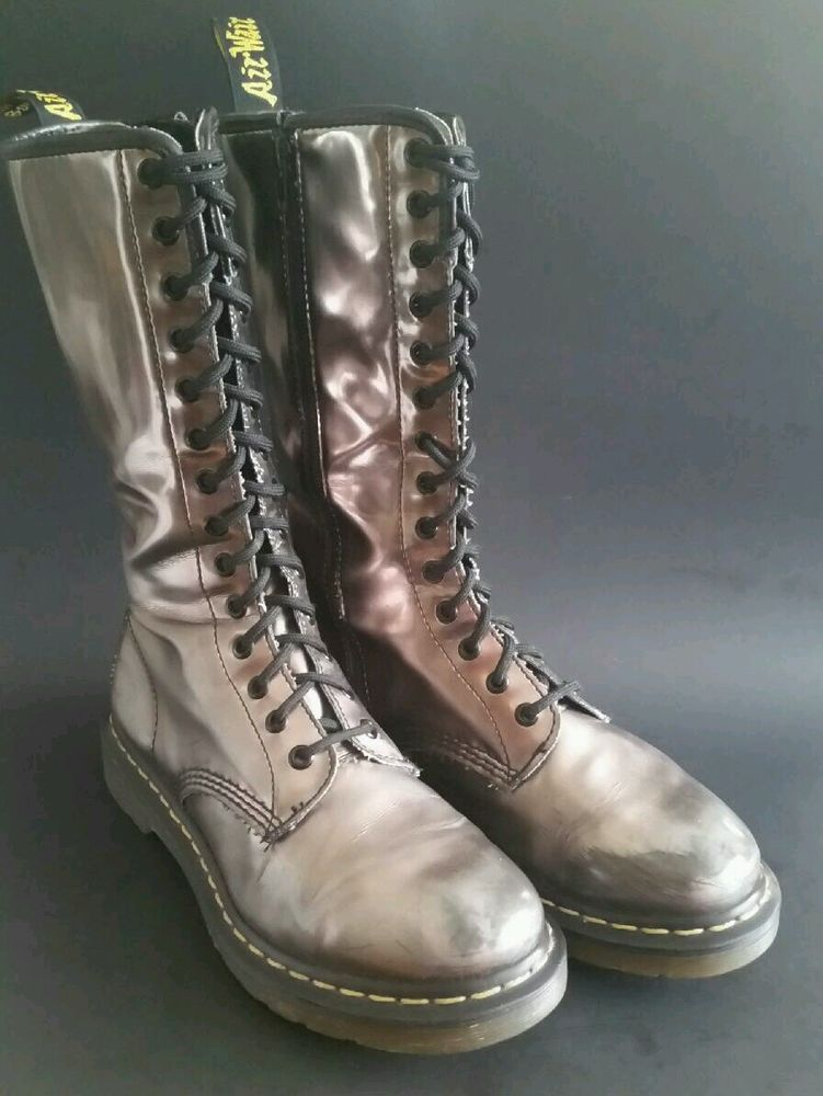 f9762f8ef0 DR DOC MARTENS 14 EYE BOOTS SILVER WITH DISTRESSED FINISH SIZE UK7 US9  #DrMartens #Boots