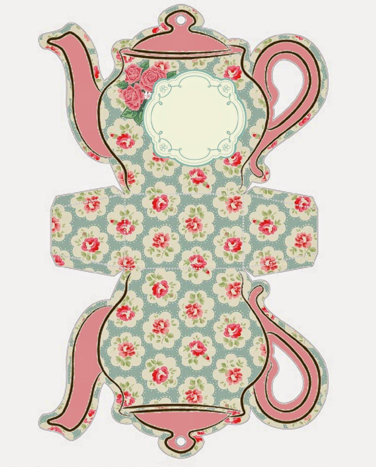 Shabby Chic Teapot Free Printable Boxes. | шаблоны | Pinterest ...