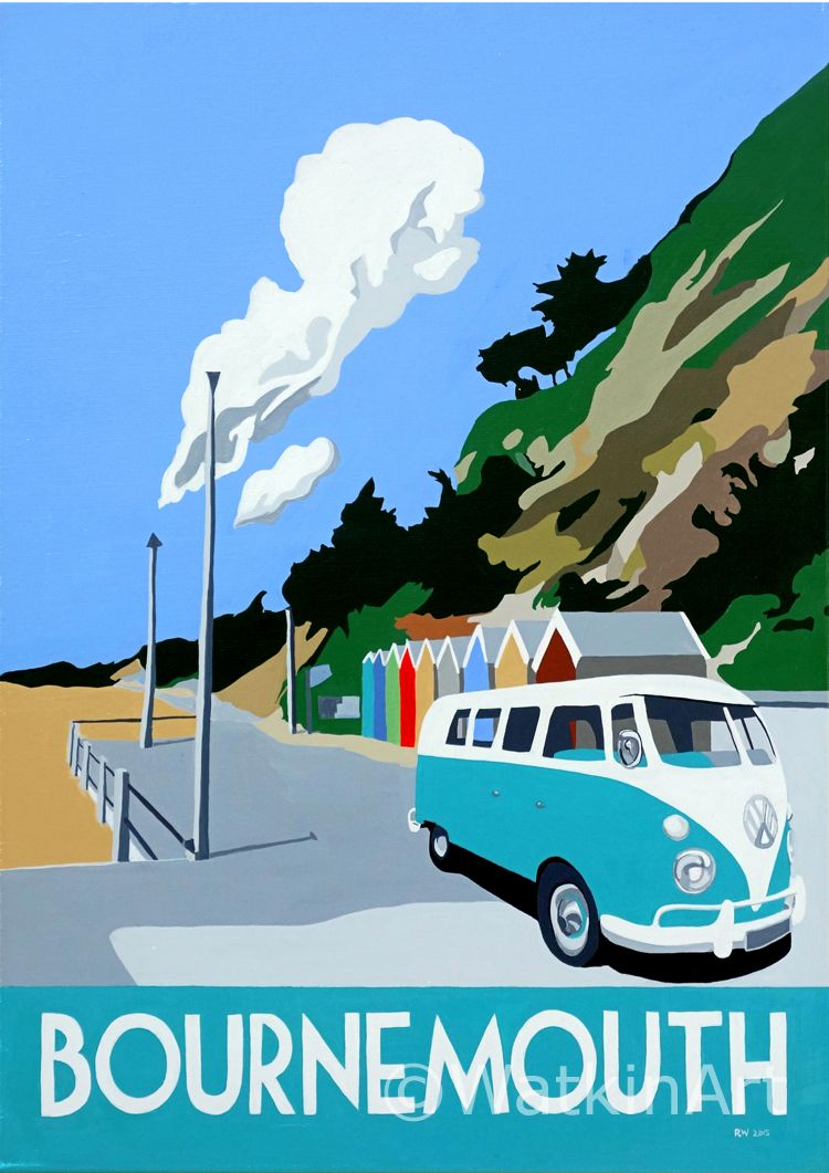 Bournemouth beach huts original painting and prints by