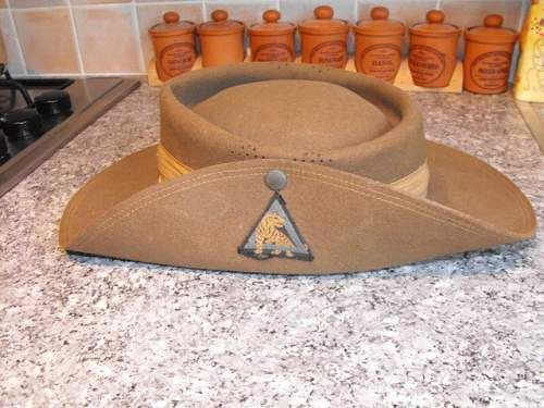 7cf1e4dd991 WW2 south african made slouch hat 26th Indian div.