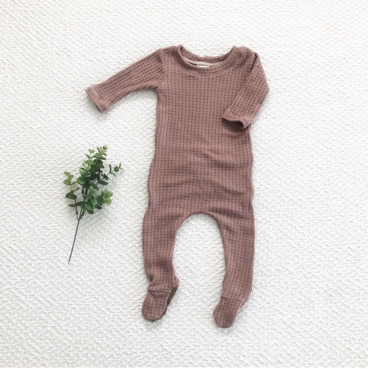 Photo of The 'Rosalie' baby girl outfit, mauve waffle knit outfit, footie pajamas, baby girl clothes, take home outfit – butt flap outfit over.