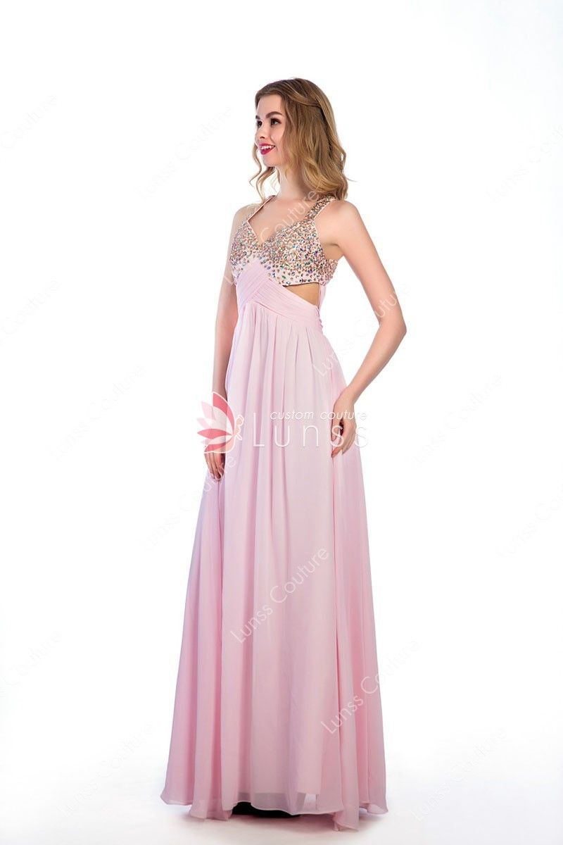 cc7727185a59 Sweet Pink Chiffon Sparkly Colorful Beading Sleeveless A-line Evening Prom  Dress