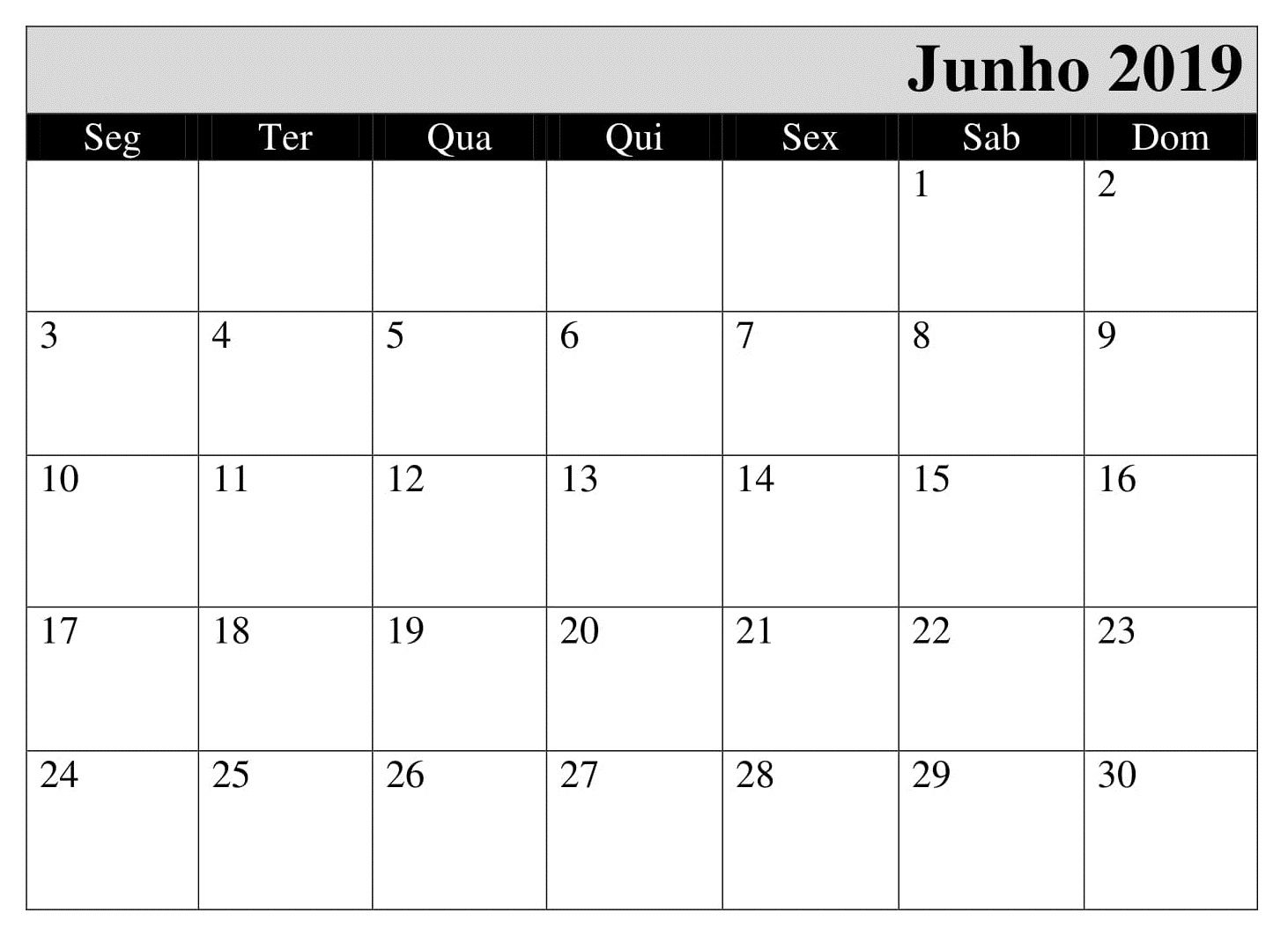 Junho Calendario Pormes 2019 Para Imprimir June 2019 Calendar
