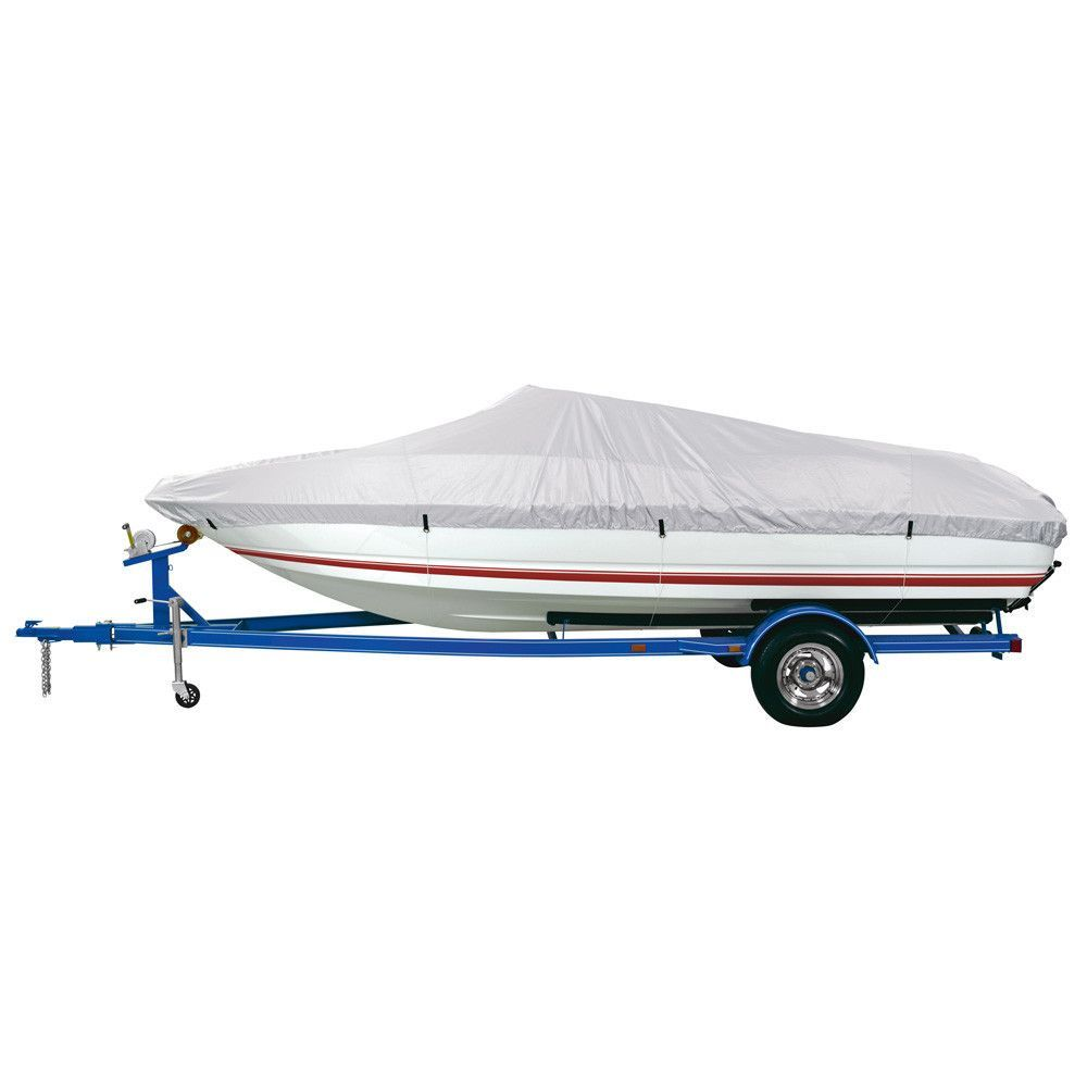 """Dallas Manufacturing Co. Reflective Polyester Boat Cover AA - Fits 12'-14' V-Hull Fishing Boats - Beam Width to 68"""""""