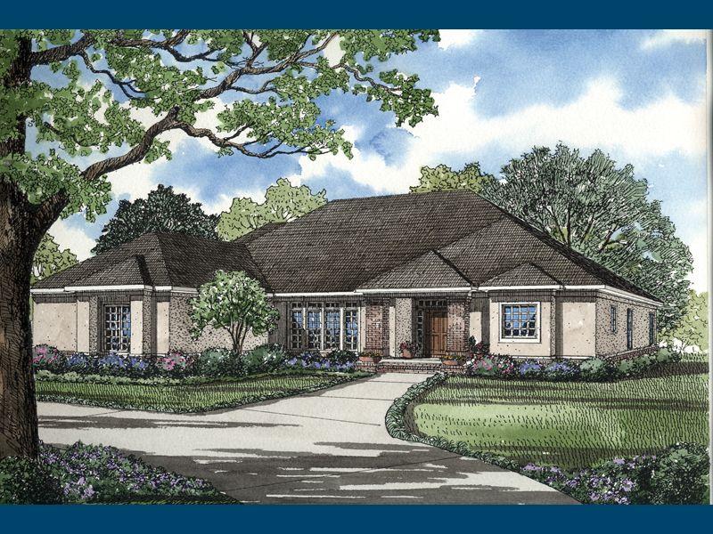 Wellington manor sunbelt home sleek stucco style ranch for Manor farm house plan