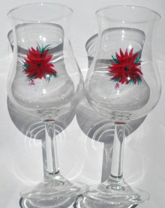 Poinsettia Glasses Hand Painted Poinsettia by LisasPaintedCrafts