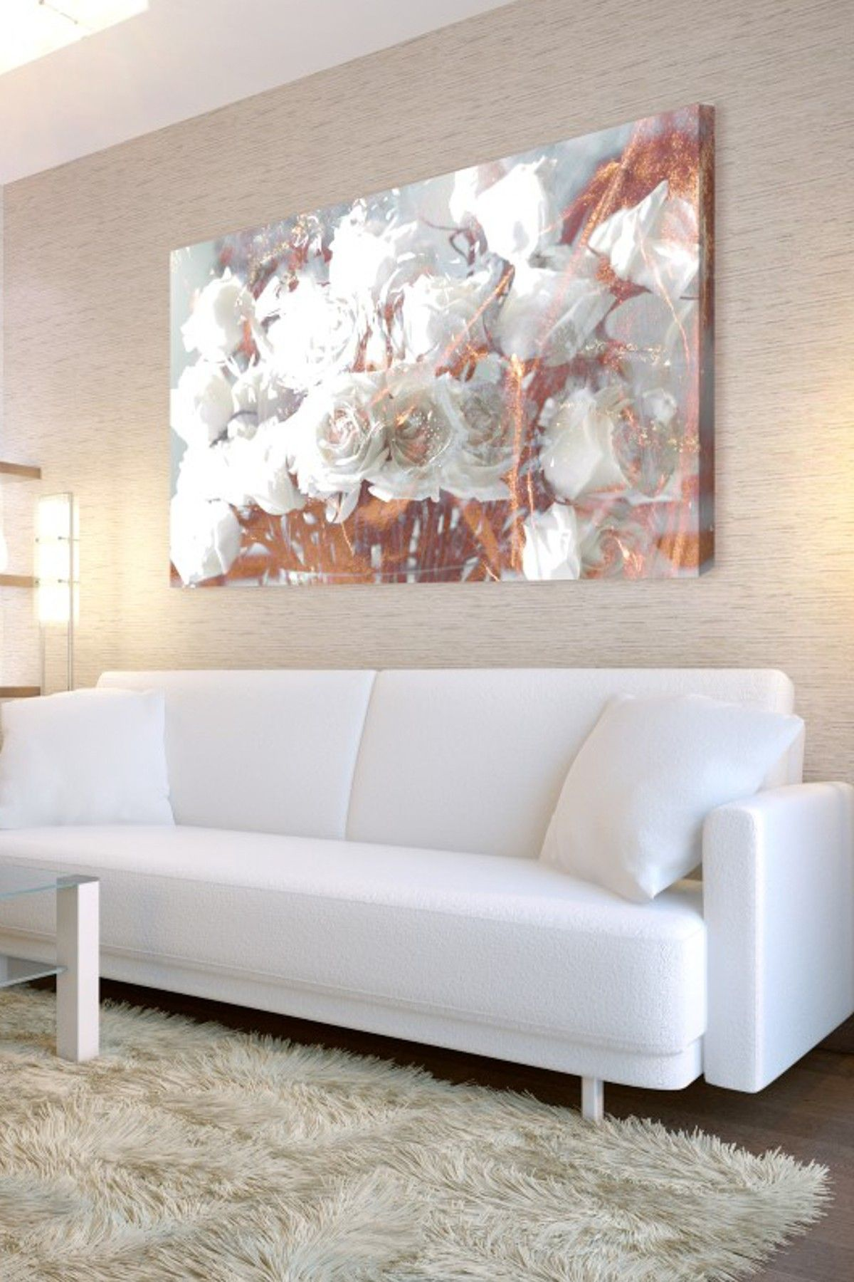 Rose gold metallic floral painting home sweet home for Metallic living room ideas