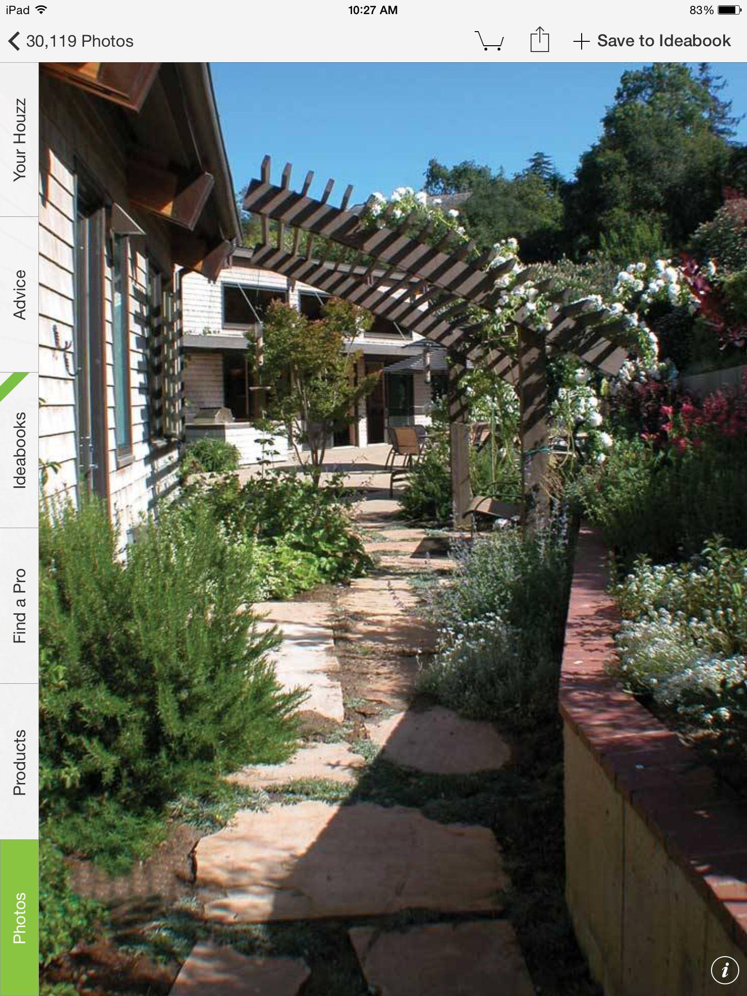 pergola over walkway in narrow side yard side yards pinterest