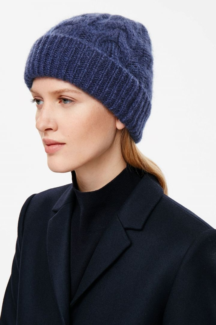 COS image 3 of Cable-knit hat in Blue Reddish Dark  c95b767d1cd4