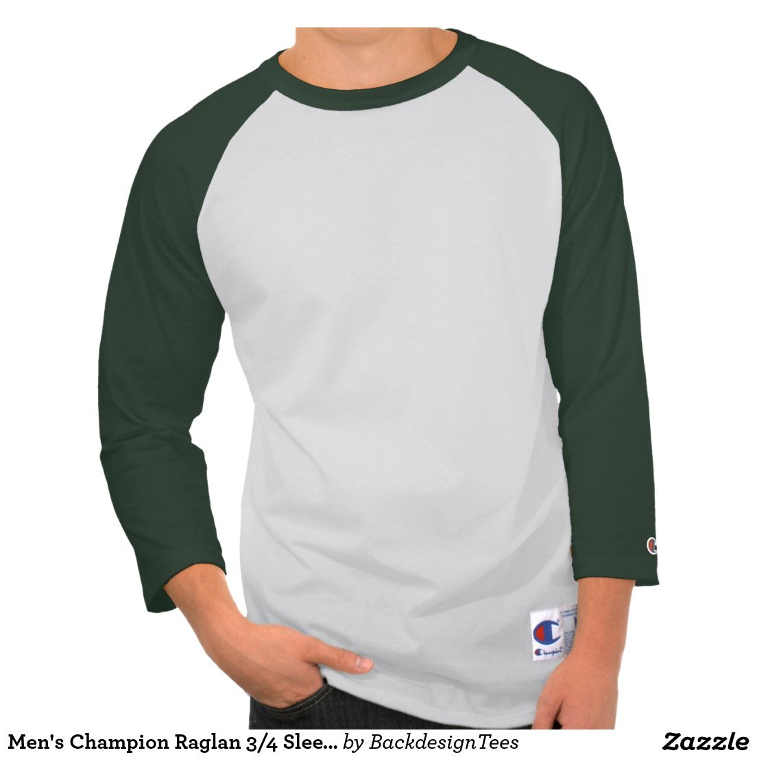 Zazzle t shirt design template - Men S Champion Raglan 3 4 Sleeve Shirt Green Dark