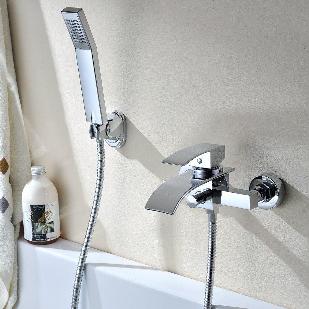 Auralum Robinet de baignoire en laiton cascade avec douche  main