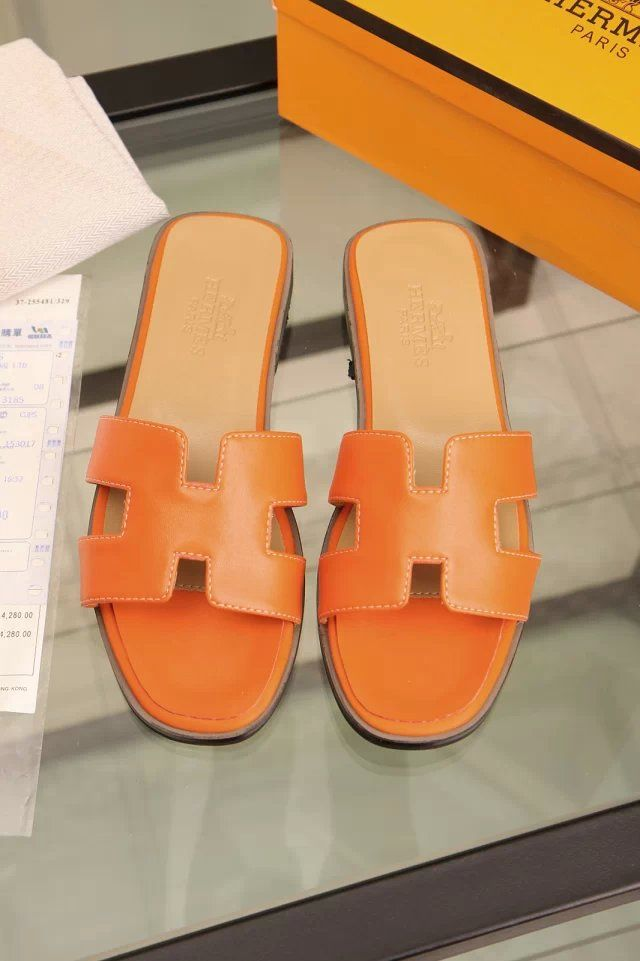 61a22d458354 hermes togo leather yellow flat heel slipper
