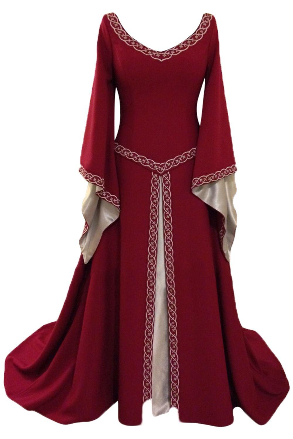 Women Medieval Renaissance Dress Gown Bell Sleeve V-neck Halloween Costume New