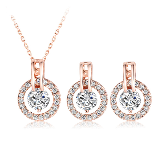 2017 Trending Jewelry Sets Rose Gold Plated NecklaceEarring Sets
