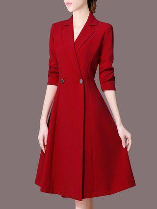 Stylewe Formal Dresses Long Sleeve 1 Casual Dresses Work A-Line Lapel Paneled Elegant Dresses