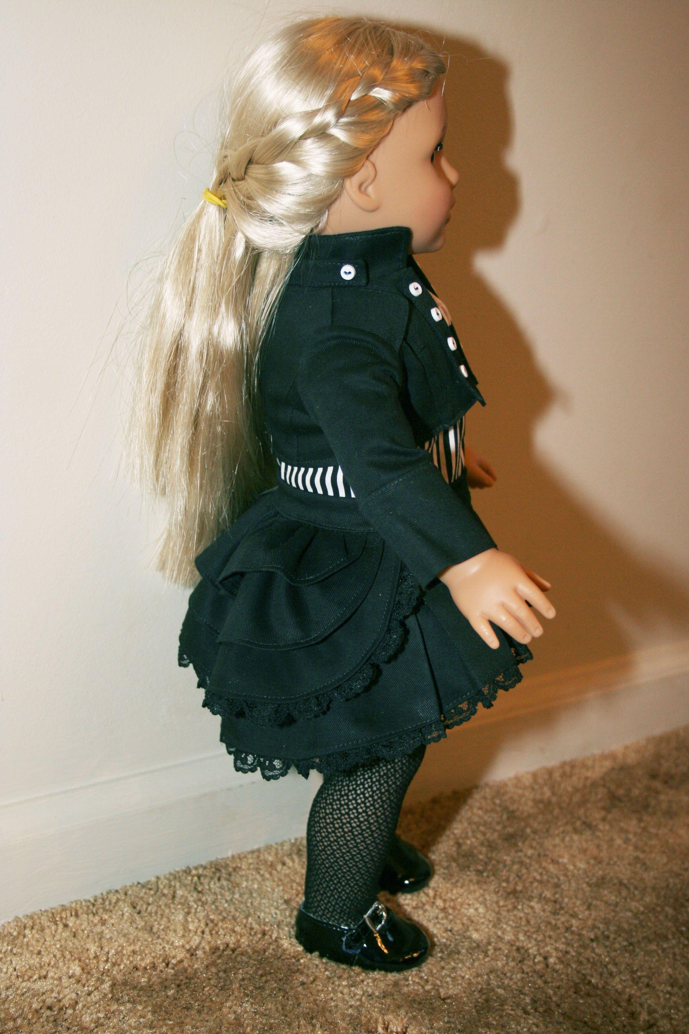Steampunk side view of ruffles skirt