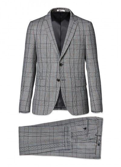 Costume slim fit - Flanelle de laine iTravel - Gris cendre - Prince de  Galles ca1287dd039