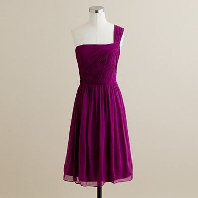 J Crew Lucienne one-shoulder dress in silk chiffon in Spiced Wine $235.00 item 47995  not sure if this is the colour...