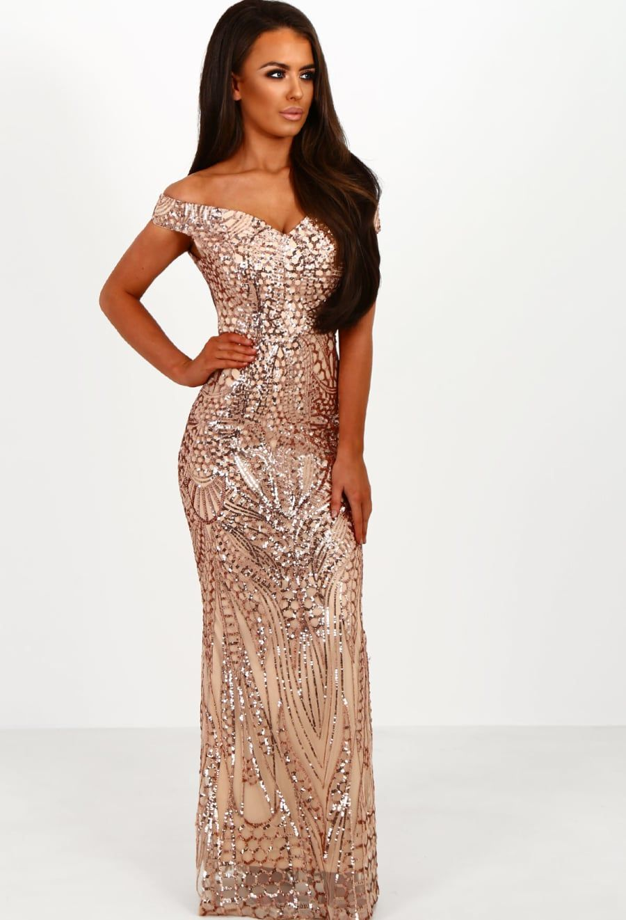 Limited Edition Avella Rose Gold Sequin Bardot Maxi Dress | gowns ...