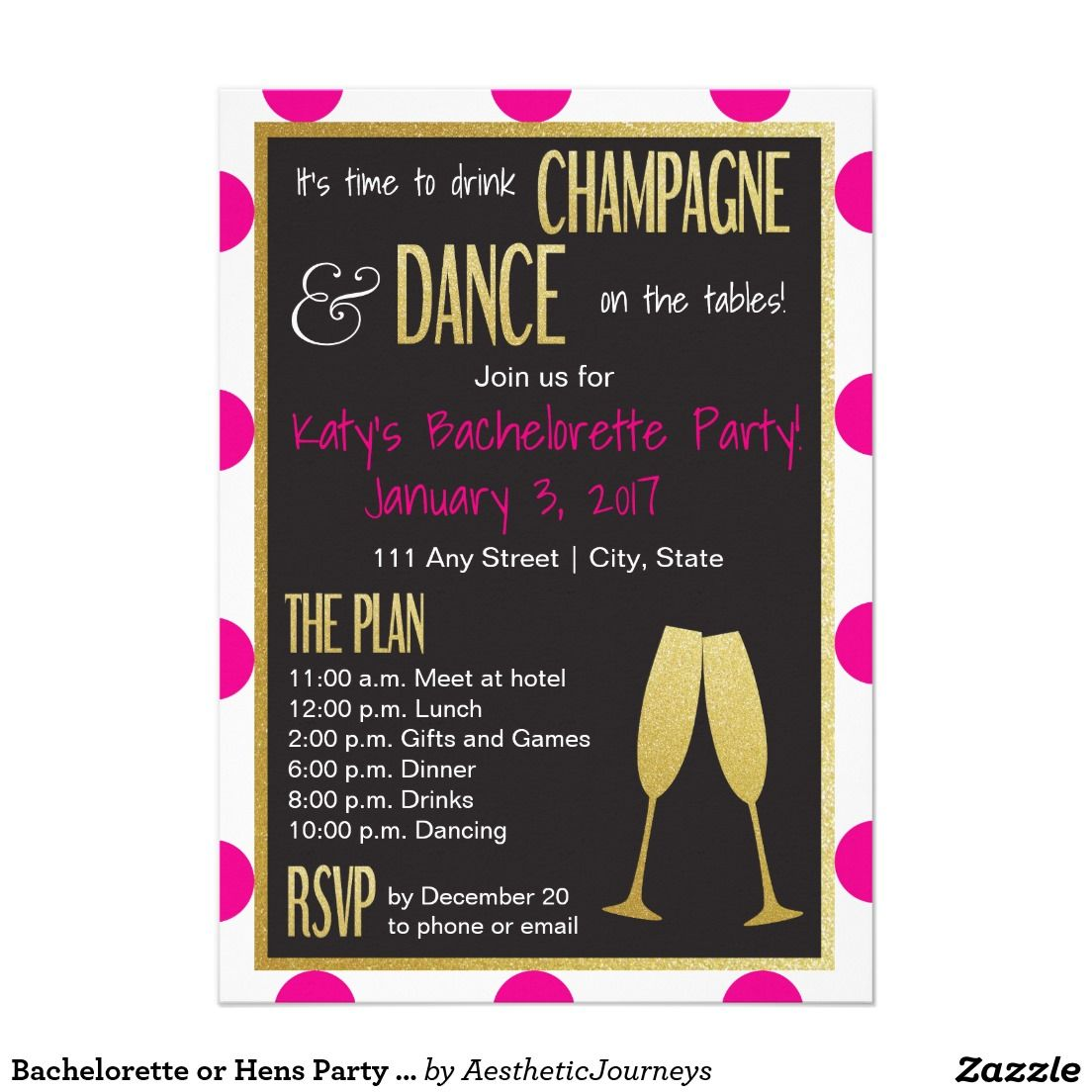 Bachelorette or Hens Party Invitation- It\'s the to drink champagne ...