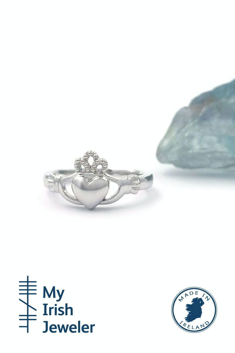 9K White Gold Claddagh Ring, Made in Ireland in 2020