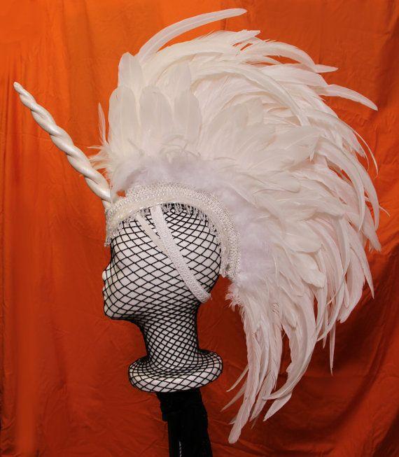 White Unicorn Mohawk Headdress by CosmiqLab on Etsy