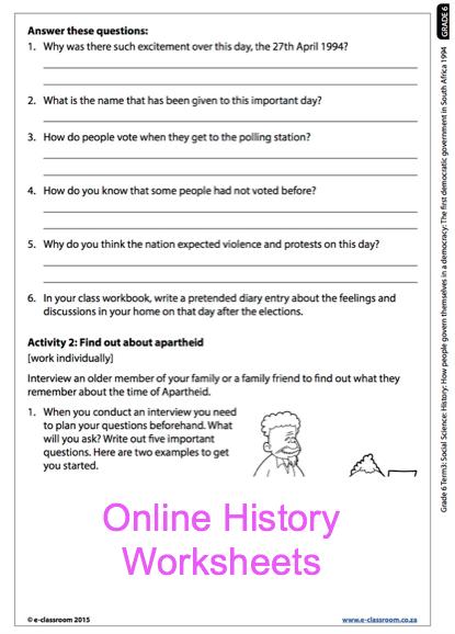 Grade 6 Online History Democracy Worksheet. For more