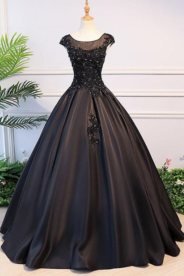 Ball Gown Round Neck Black Satin Cap Sleeves Prom Dresses With Lace PG762 5bf7d6d3b8