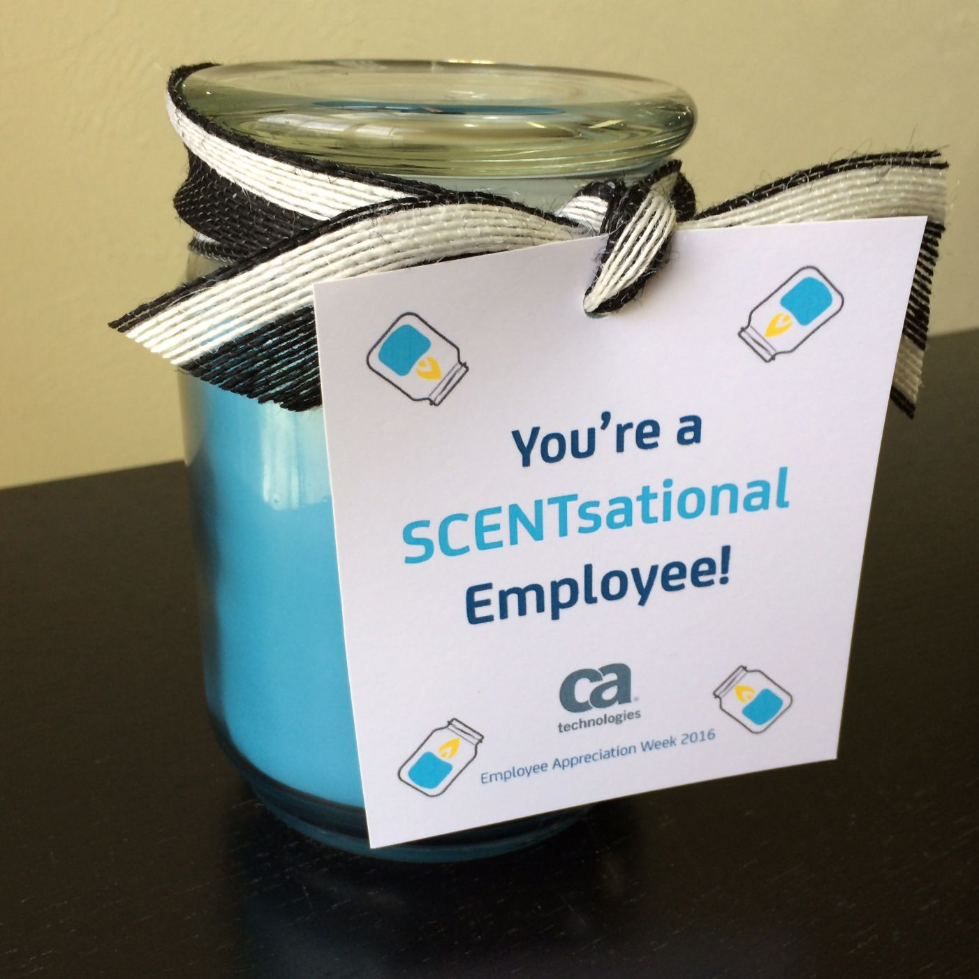 "you're a scentsational employee!"" scented candle 