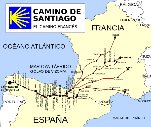 Pelgrimsroute naar Santiago de Compostella routebeschrijvingen