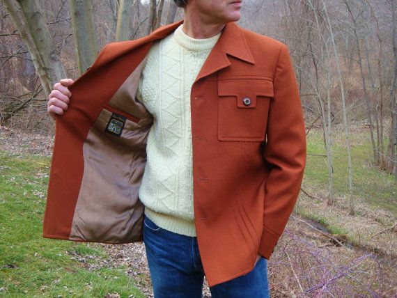 Vintage 70s Rust Leisure Suit Jacket