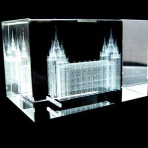 Salt Lake City Utah Temple Crystal Cube