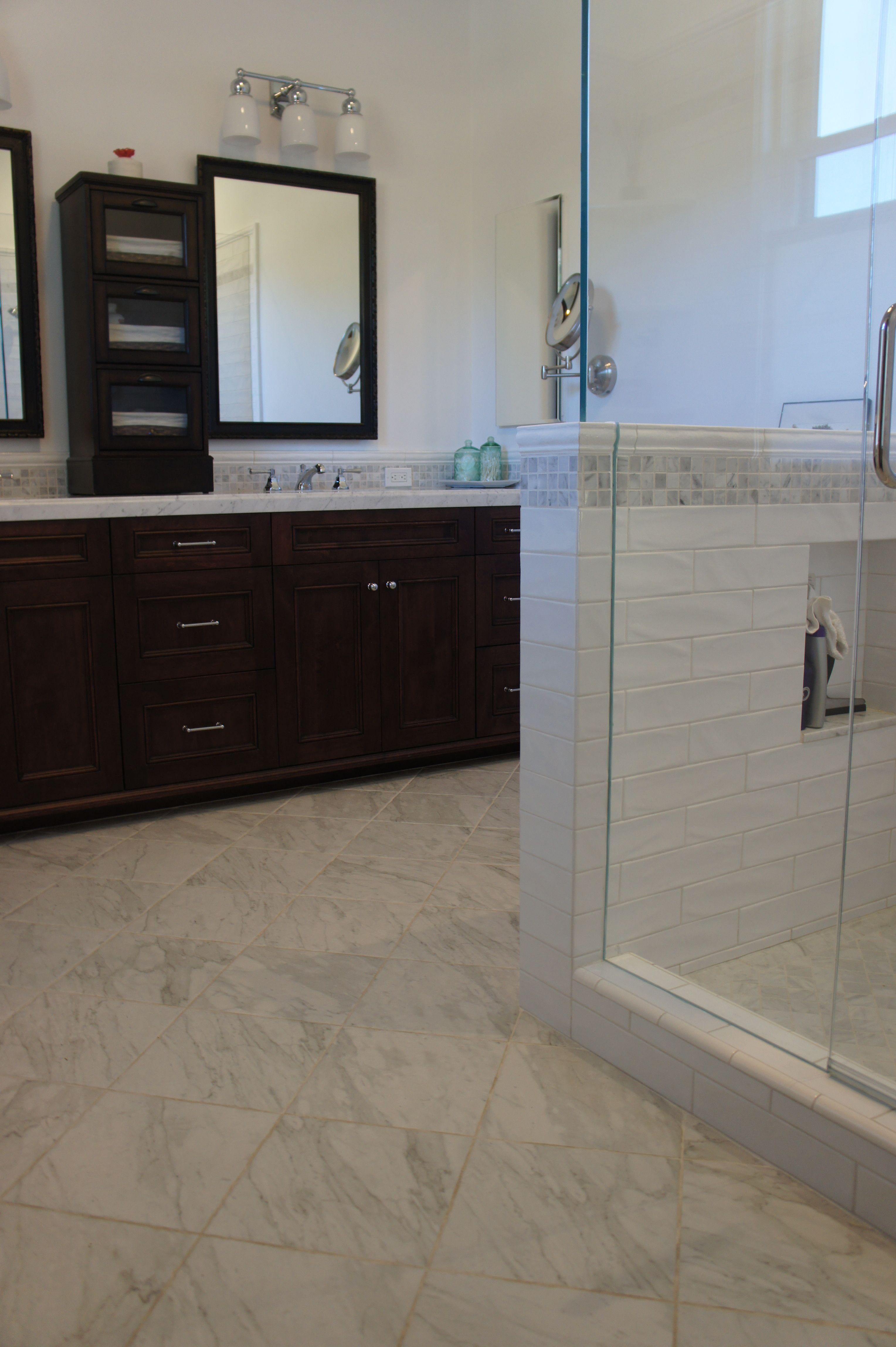 White Subway Tile And Carrara Marble Bathroom Carrara Marble Bathroom Marble Bathroom White Subway Tile
