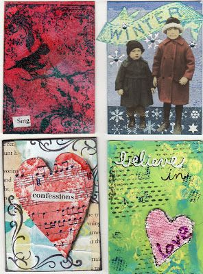""". . . . . One Woman's Hands: ATCs from AJC swap -- Every time I receive a large-ish batch of a given media - ATCs, postcards, whatever - I'm struck by how individual we each are as artists. The only """"rule"""" for this swap was that the ATCs be mixed media, at least 3 techniques used. Consequently, there's everything under the sun on these cards - collage, paint, gelli printing, stamping, stenciling, drawing, lettering, stickies, stitching, embossing, glitter. You name it, it's on these…"""