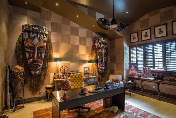 African Style Living Room Design Impressive Large Masks On The Wall For An Exotic And Audacious Home Office Design Ideas