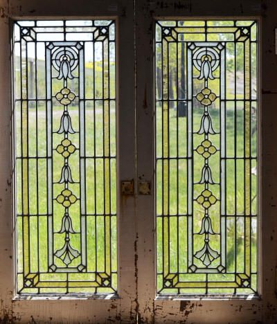 A Pair Of Antique American Stained Glass Cabinet Doors In A