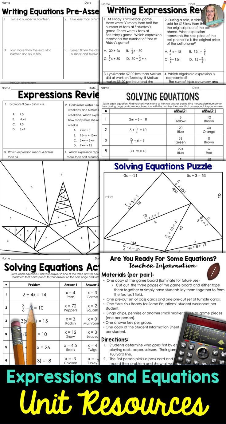 Equations and Expressions Unit Resources | Equation, Outlines and ...