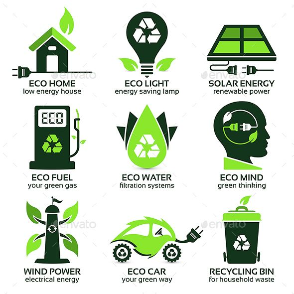 Eco Flat Symbols Promoting Green Lifestyle In The