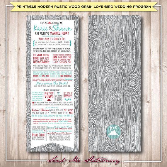 Rustic Wood Grain Wedding Program