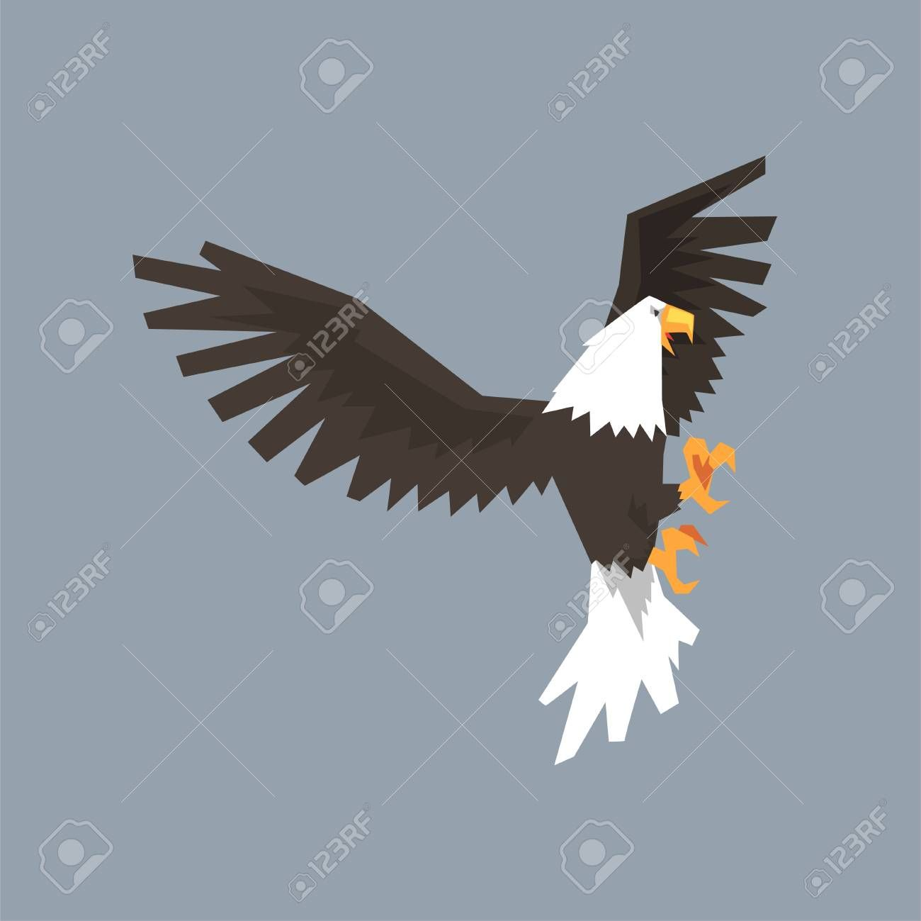 North American Bald Eagle Character With Outstretched Wings Symbol Of Freedom And Independence Vector Il Cartoon Styles Bald Eagle Business Advertising Design