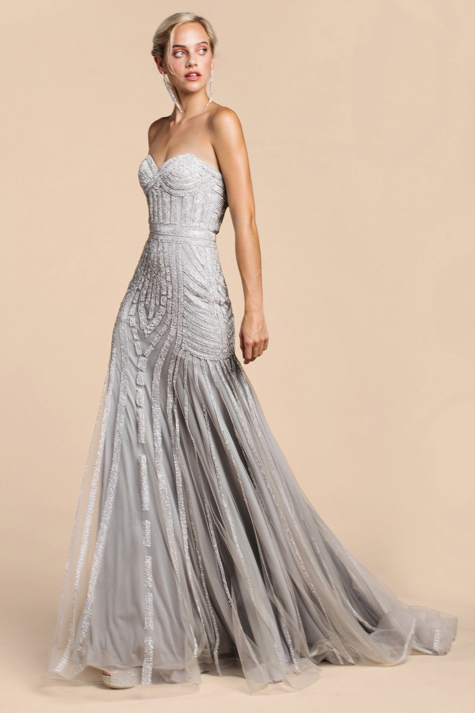 710e25ae768f silver beaded long prom dress. I love the way the dress drapes