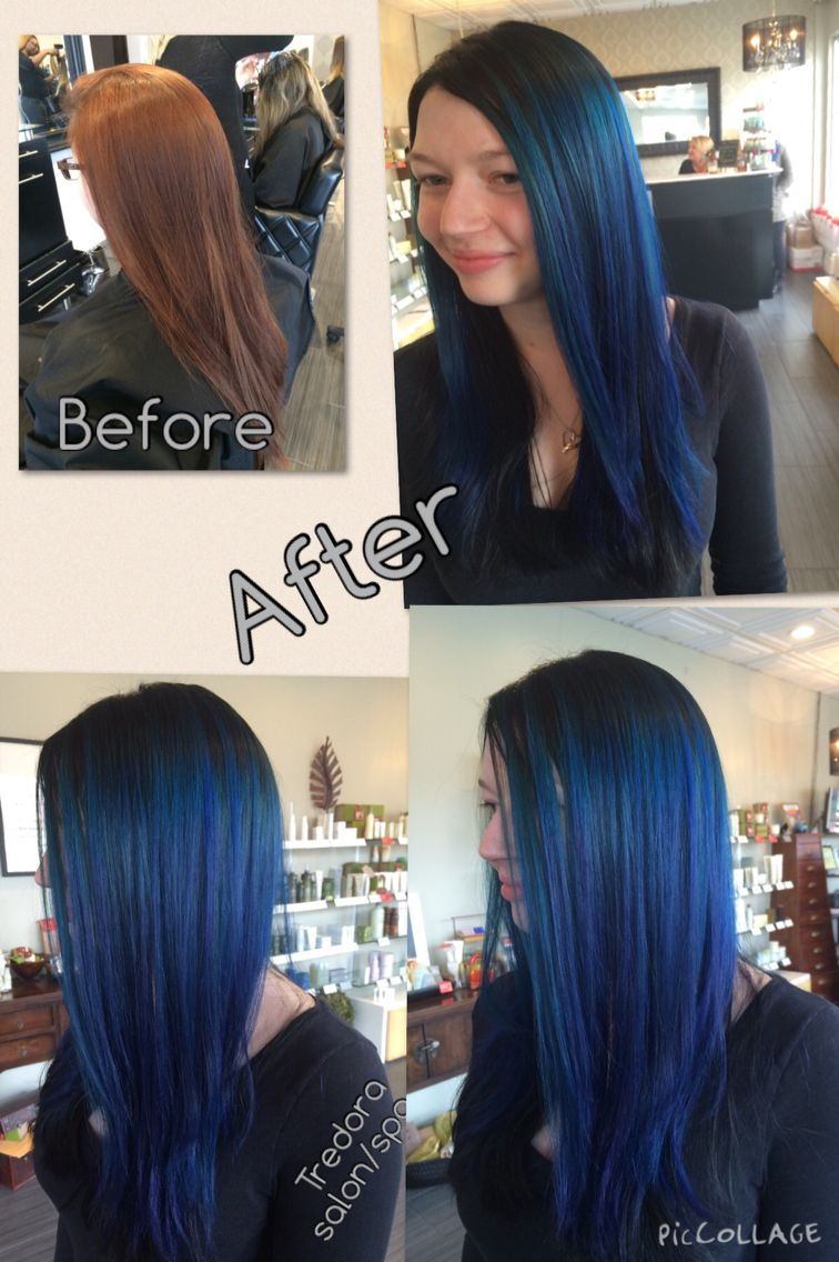 Before Hair Was Colored Red After Root And Under Color Blue Black Lightener Was Painted On Leaving A Root Hair Inspiration Long Hair Styles Short Hair Styles
