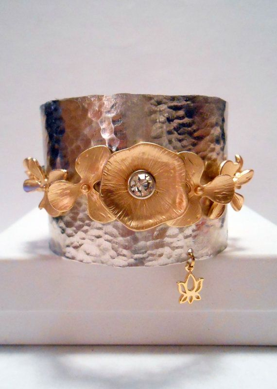 Hand-hammered Silver Cuff and with Gold Flower and Rhinestones and Lotus flower charm Adjustable Cuff Bracelet $32.00 USD Only 1 available...