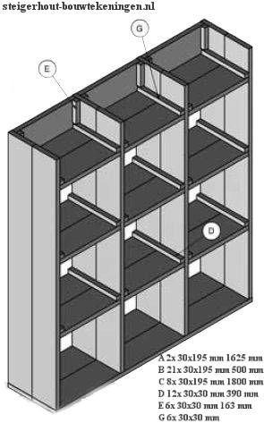 bouwtekening voor een vakkenkast van steigerhout kast pinterest bouwtekening kast en meubels