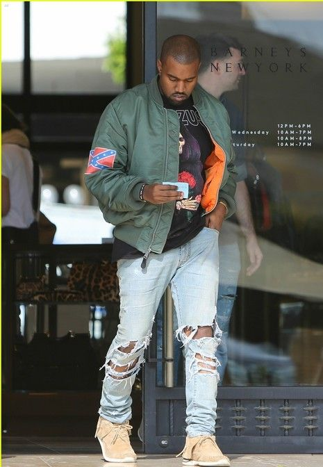 Kanye West In Ripped Jeans Denimology Ripped Jeans Men Mens Outfits Kanye West Outfits