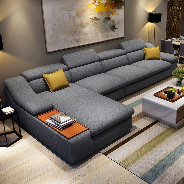 Living Room Furniture Modern L Shaped Fabric Corner Sectional Sofa