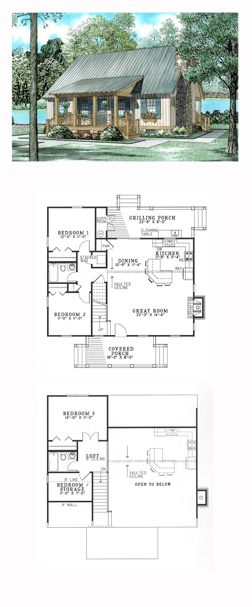 Southern Style House Plan with 3 Bed 2 Bath